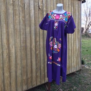 Vintage purple embroidered Mexican dress
